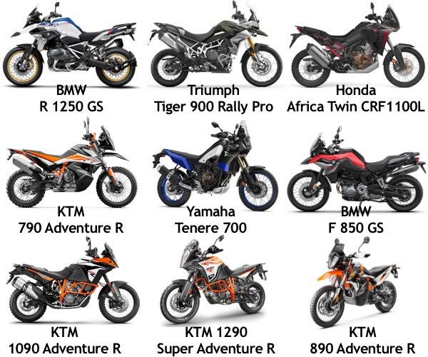 Comparing 9 Adventure Motorcycles Yamaha Tenere 700 T7 Vs Ktm 790 890 Adventure R Vs Honda Africa Twin Crf1100l Vs Bmw R1250gs Vs Bmw R850gs Vs Ktm 1290 Sa R Vs Ktm